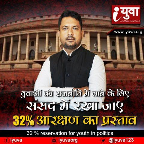 युवाओं को राजनीति में लाने के लिए संसद में रखा जाए 32% आरक्षण का प्रस्ताव